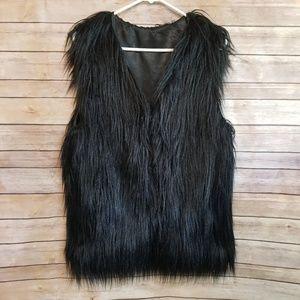 Boutique black furry vest